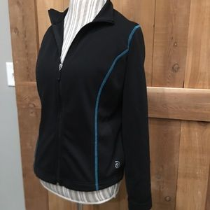 Be Inspired Activewear Jacket Black/Teal Small EUC